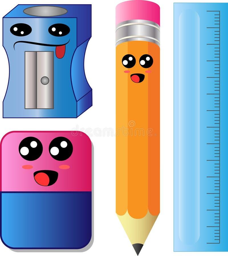 传染媒介动画片磨削器、铅笔、橡皮擦和统治者标度 皇族释放例证