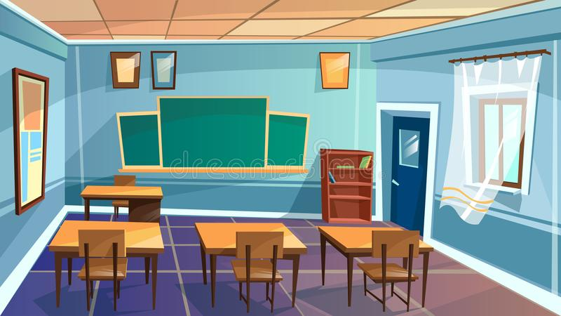 传染媒介动画片空的学校,学院教室