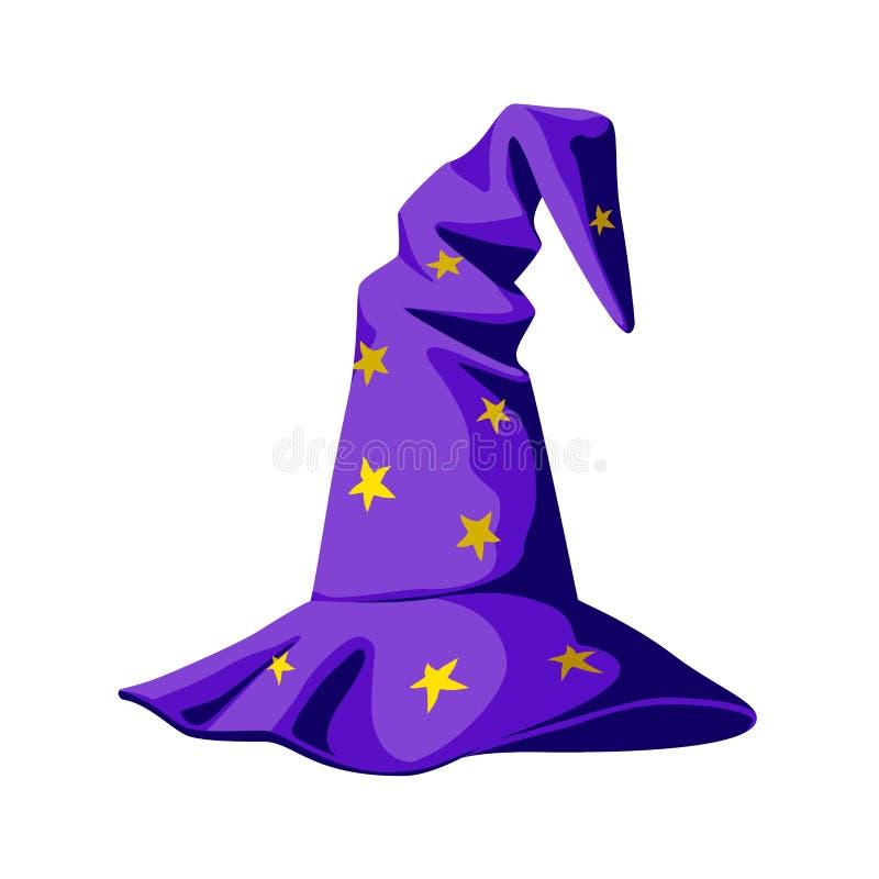 传染媒介动画片紫色巫术师帽子在白色背景isolaten 库存例证