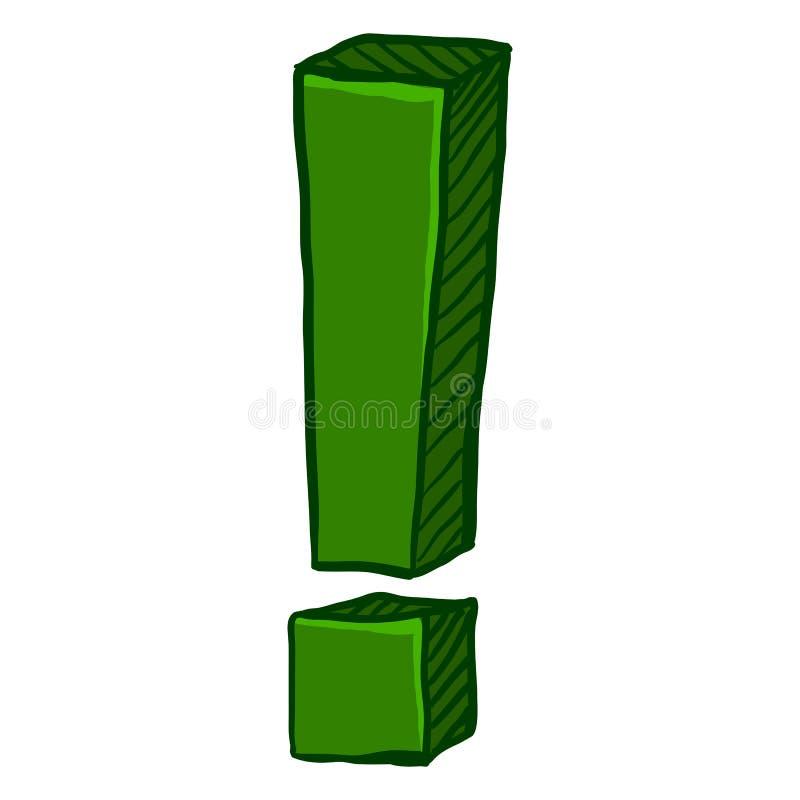传染媒介动画片绿色惊叹号 库存例证