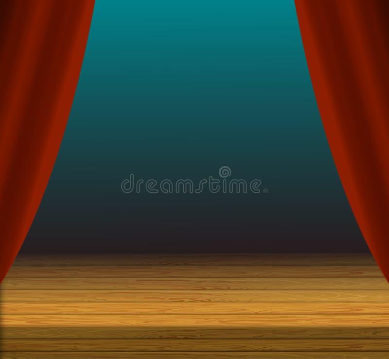 传染媒介动画片舞台背景、红色帷幕和木地板 向量例证