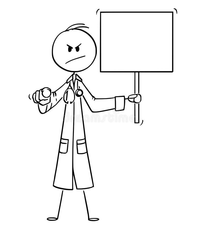 传染媒介动画片观察者的严肃的看的医生Pointing和拿着空的标志 向量例证