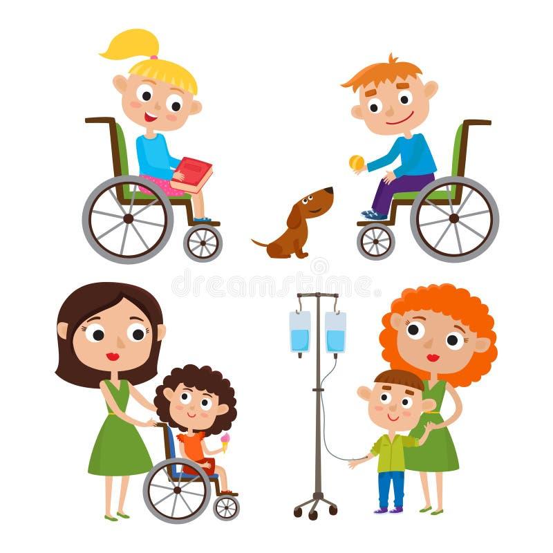 传染媒介动画片设置了与孩子-有她病的小孩的母亲 库存例证