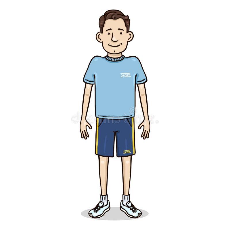 传染媒介动画片颜色字符-体育成套装备的年轻人 库存例证