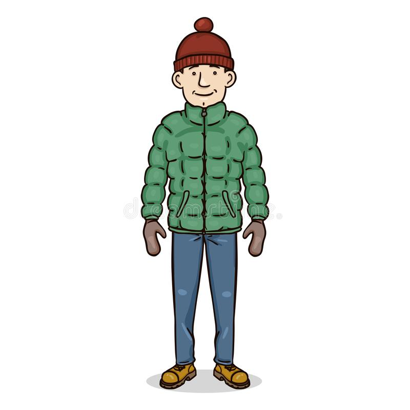 传染媒介动画片颜色字符-冬天成套装备的年轻人 库存例证