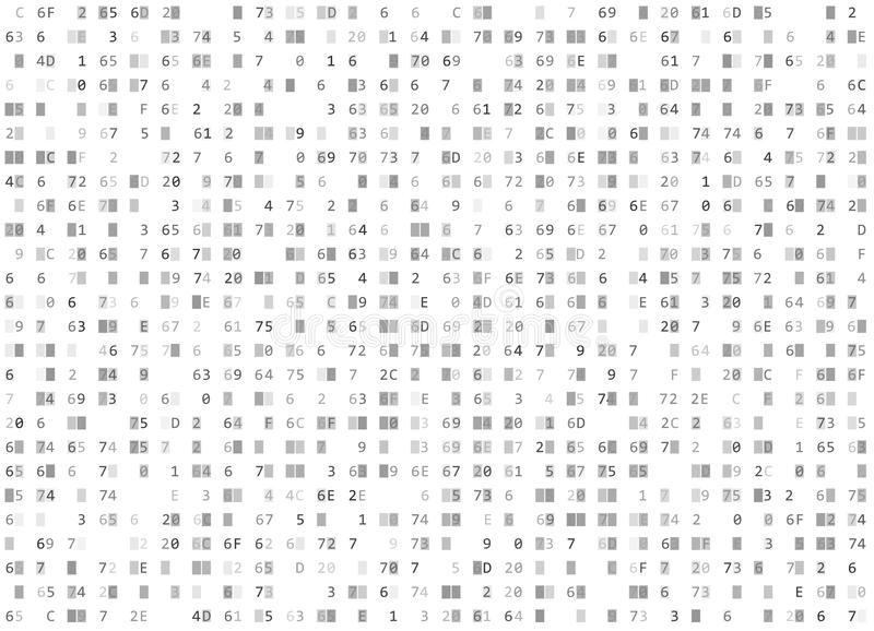 传染媒介十六进制代码白色无缝的背景 大数据和编程的乱砍,解密加密,计算机放出 向量例证