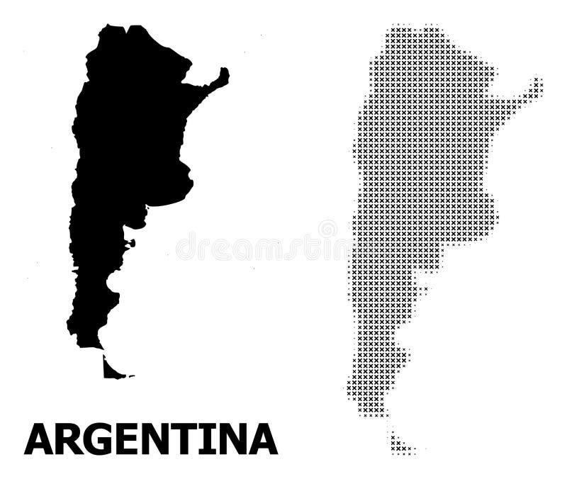 传染媒介半音样式和阿根廷的坚实地图 向量例证