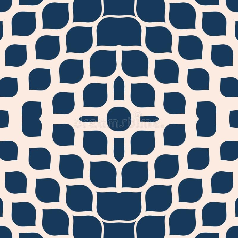 传染媒介半音滤网纹理 蓝色和米黄摘要几何无缝的样式 库存例证