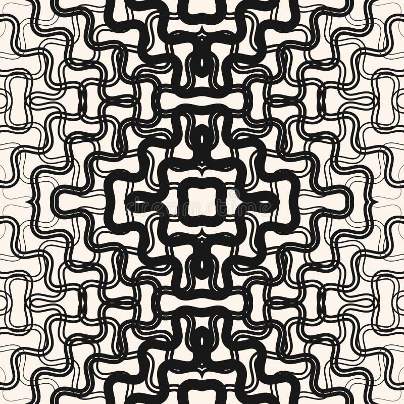 传染媒介半音转折样式 与被缠结的线的抽象无缝的纹理 皇族释放例证