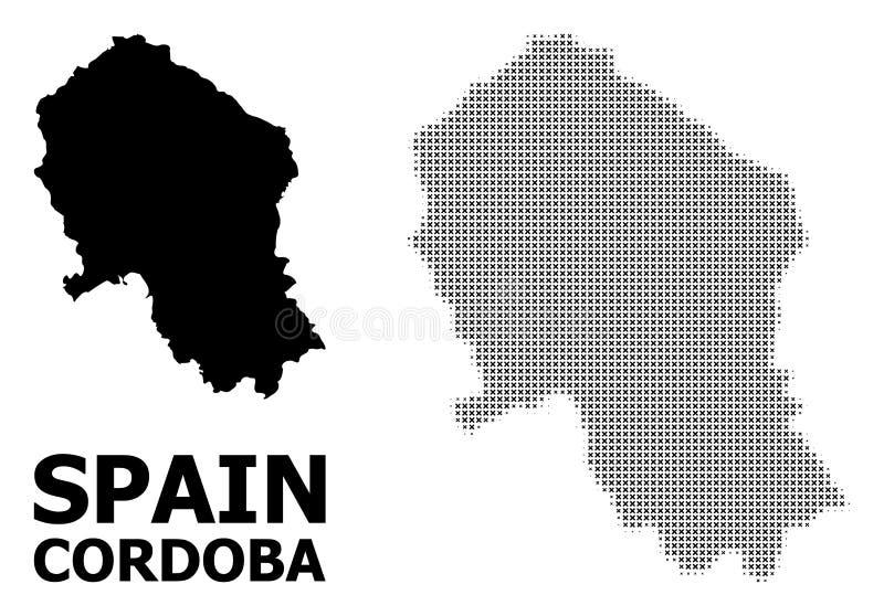 传染媒介半音马赛克和科多巴西班牙省坚实地图  皇族释放例证