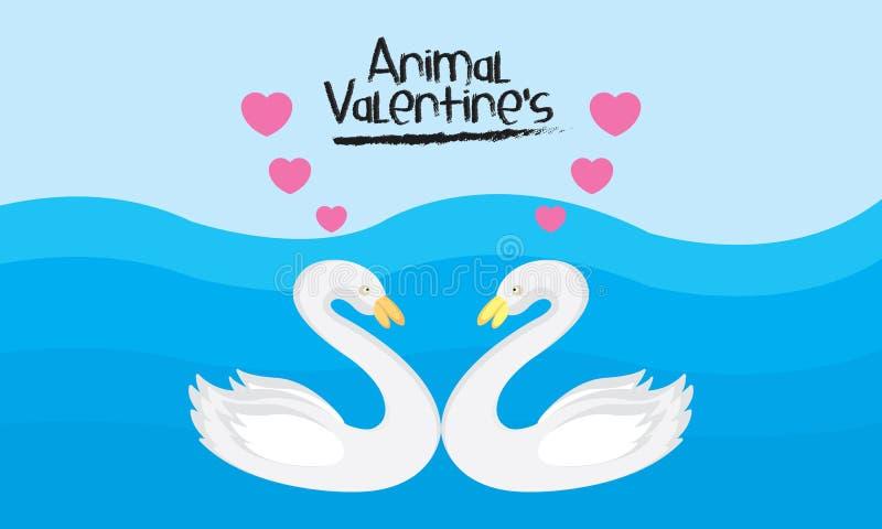 传染媒介华伦泰的动物天鹅爱背景 库存例证