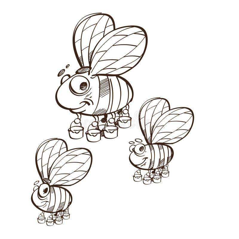 传染媒介单色友好逗人喜爱蜂飞行和微笑 背景钝齿轮例证查出的白色 皇族释放例证