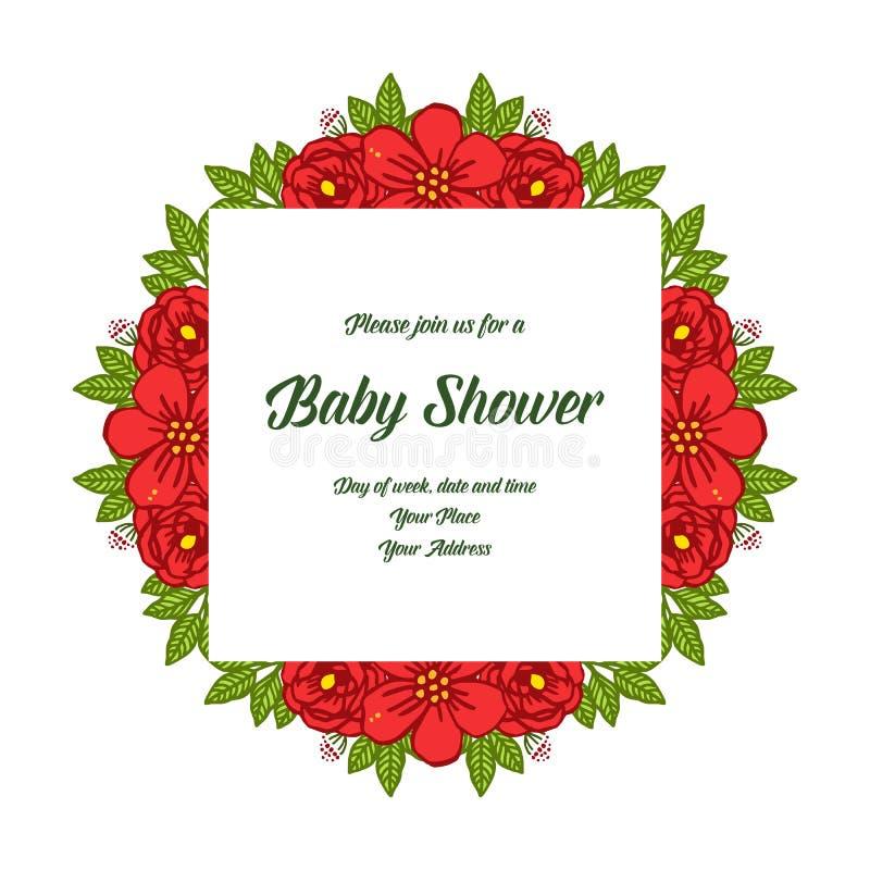 传染媒介卡片与红色玫瑰色bouqet的婴儿送礼会例证样式构筑绽放 库存例证