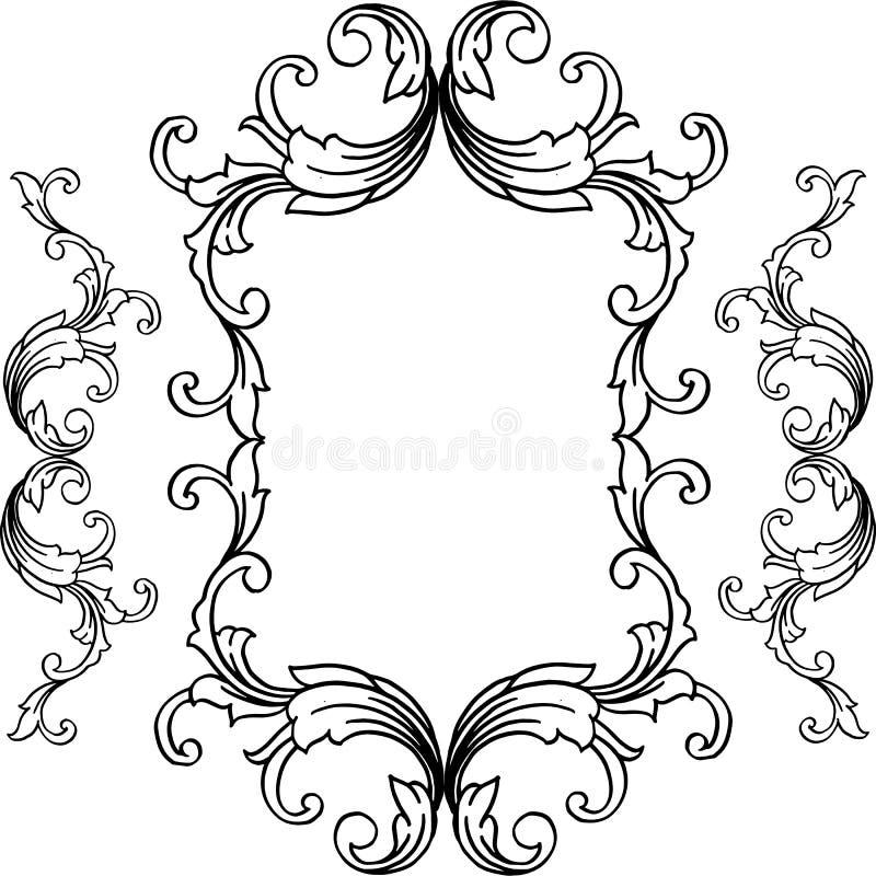 传染媒介卡片例证形状与非常美好的花框架的 皇族释放例证