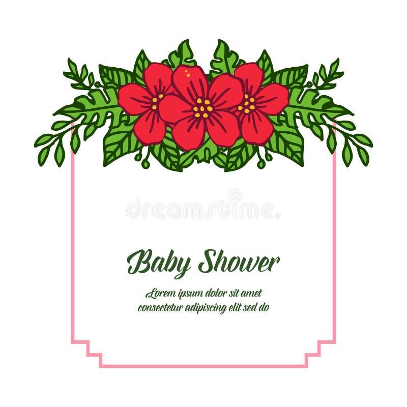 传染媒介卡片非常美好的红色花框架的婴儿送礼会例证形状  向量例证