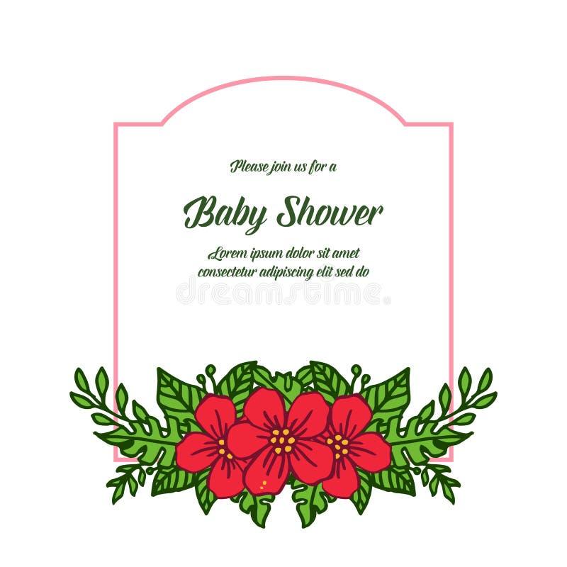 传染媒介卡片非常美好的红色花框架的婴儿送礼会例证形状  库存例证