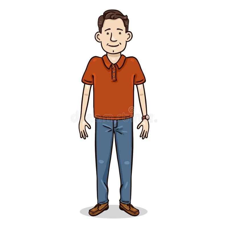 传染媒介卡通人物-牛仔裤和红色衬衣的年轻人 偶然成套装备 皇族释放例证