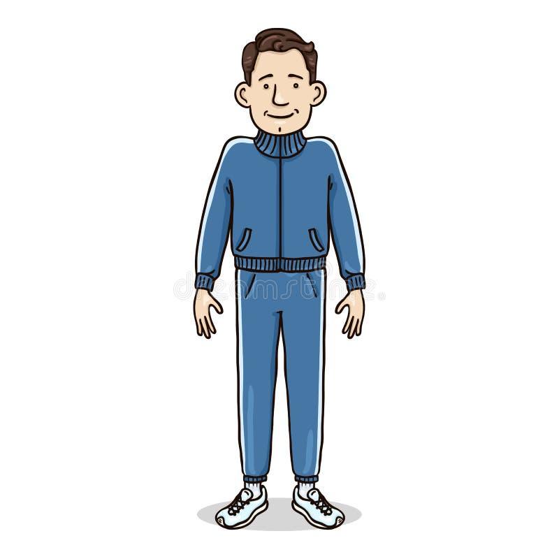 传染媒介卡通人物-蓝色体育衣服的白人 库存例证
