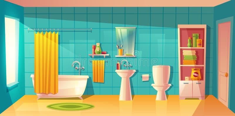 传染媒介卫生间内部,有家具的室 皇族释放例证