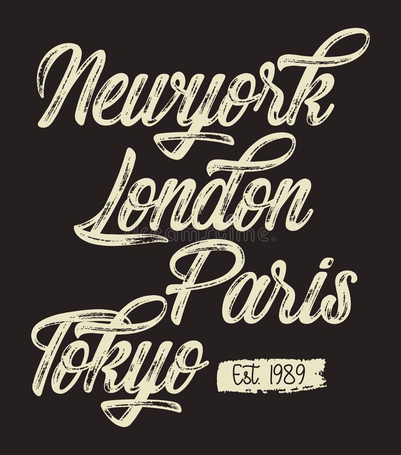 传染媒介印刷术纽约伦敦巴黎东京 向量例证
