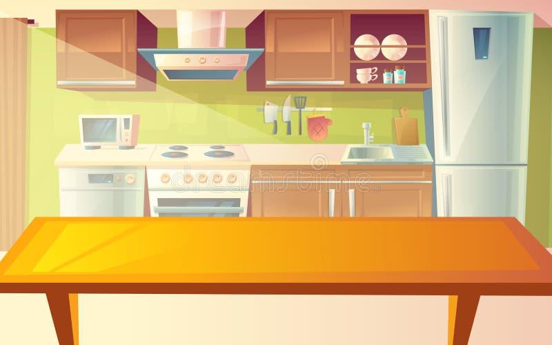 传染媒介厨房内部的动画片例证 库存例证