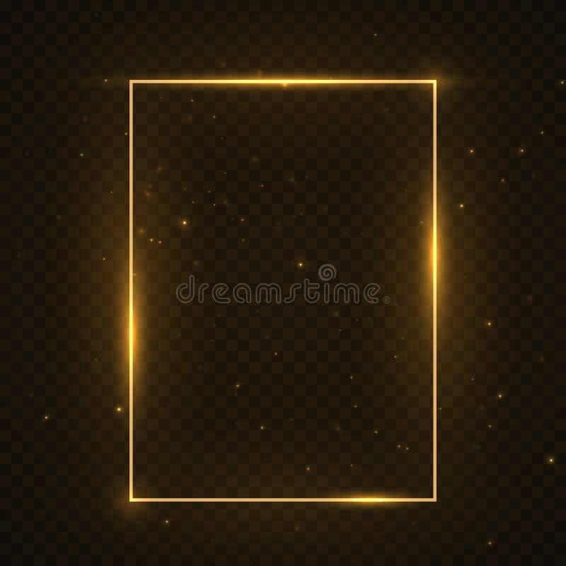 传染媒介发光的幻方框架 发光的霓虹火波浪 闪烁闪闪发光对黑暗的透明背景的足迹作用 库存例证