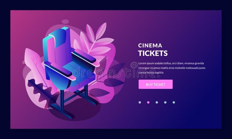 传染媒介发光的霓虹戏院节日海报或横幅背景 与影片聚光灯的五颜六色的3d样式电影摄影机 向量例证