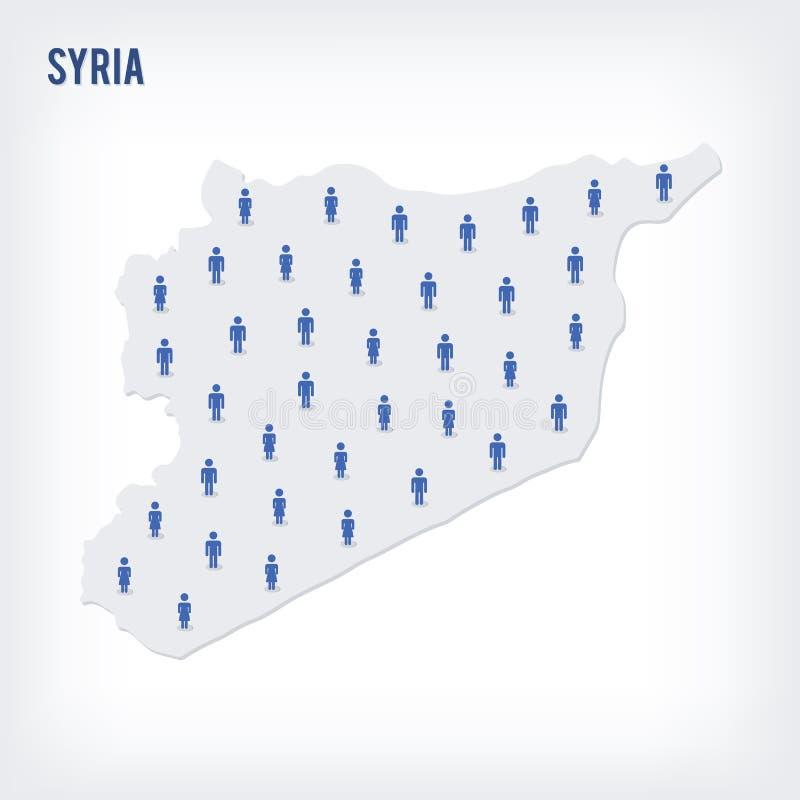 传染媒介叙利亚的人地图 人口的概念 库存例证
