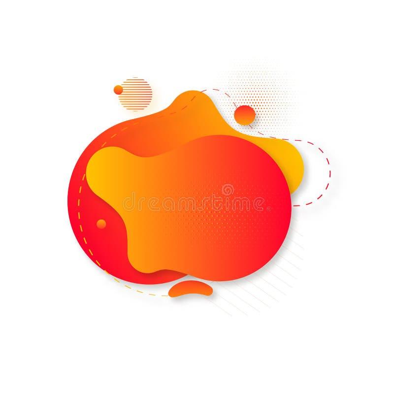 传染媒介可变的液体几何形状 在黑背景的抽象黄色和红色梯度形状 也corel凹道例证向量 库存例证