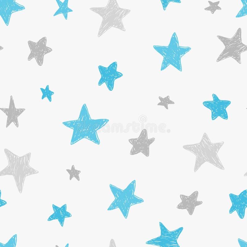 传染媒介哄骗与乱画被构造的星的样式 导航无缝的背景,蓝色,灰色,白色,斯堪的纳维亚样式, 皇族释放例证