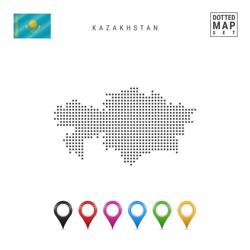 传染媒介哈萨克斯坦被加点的地图  哈萨克斯坦简单的剪影  哈萨克斯坦国旗  多彩多姿的地图标志 库存例证