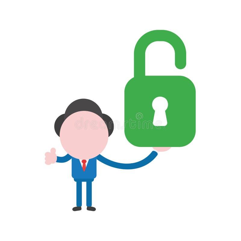 传染媒介商人字符拿着绿色开放挂锁的和gest 向量例证