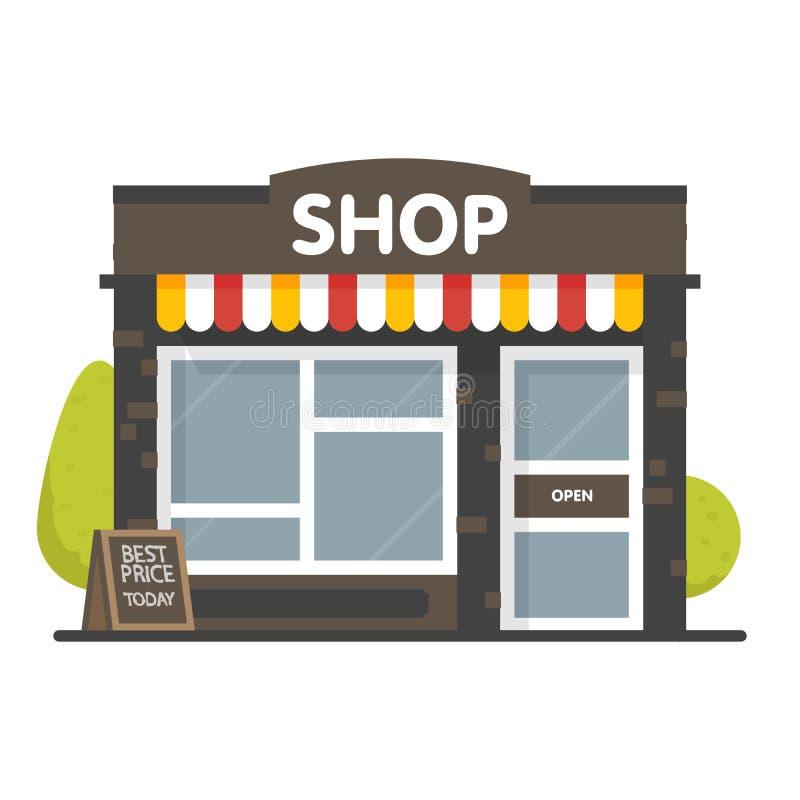 传染媒介商店或市场商店前面外部门面,例证背景 皇族释放例证