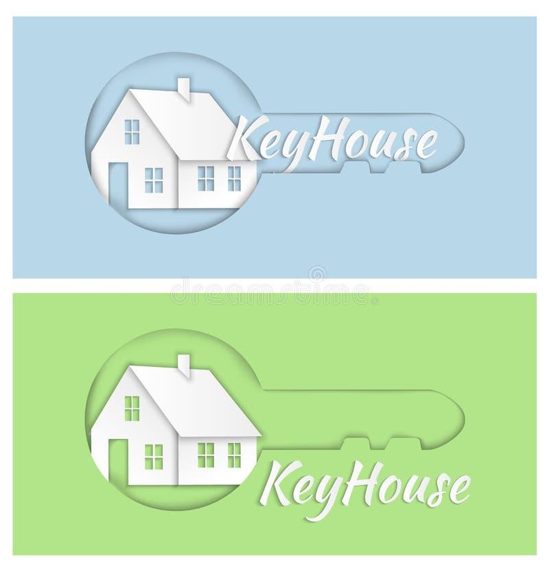 传染媒介商标在蓝绿色背景的设计元素 不动产,钥匙,房子,家 皇族释放例证