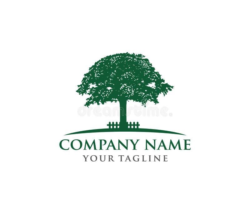 传染媒介商标橡树商标的设计例证,明智和强 库存例证