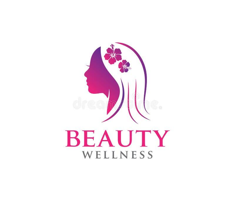 传染媒介商标秀丽妇女的健康,美容院,瑜伽类,化妆构成设计例证 向量例证