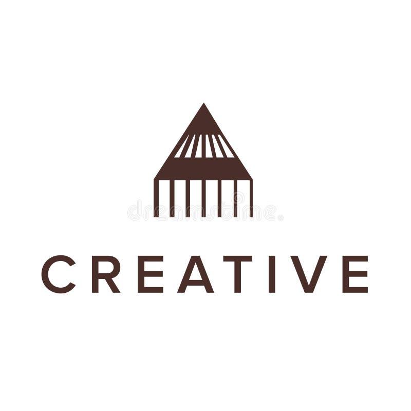 传染媒介商标设计信件A铅笔三角商标概念 公司业务的创造性的图表字母表标志 向量例证