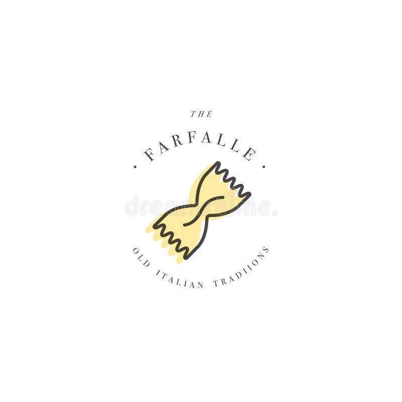 传染媒介商标设计模板和象征或者徽章 意大利意大利面食- Farfalle 线性商标 向量例证