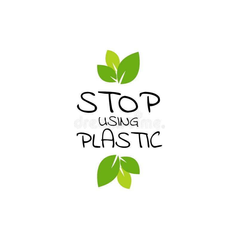 传染媒介商标设计模板或徽章在时髦样式和手字法词组中止使用塑料 零的废概念,回收, 向量例证