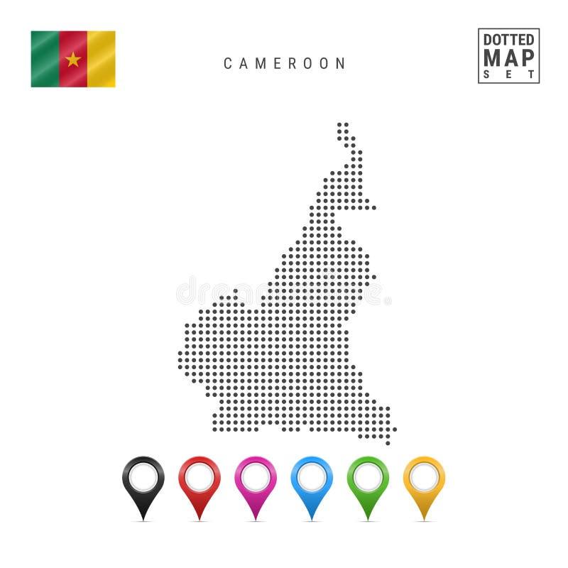 传染媒介喀麦隆的被加点的地图 喀麦隆的简单的剪影 卡麦隆的国旗 套多彩多姿的地图标志 库存例证