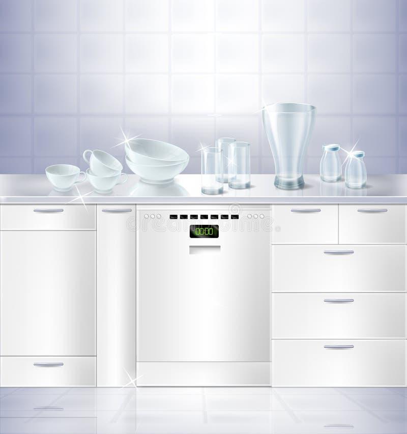 传染媒介嘲笑厨房镶入洗碗机 皇族释放例证