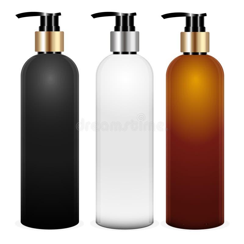 传染媒介嘲笑设置包裹 空的有泵浦的3d白色,黑和棕色塑胶容器液体皂的,关心奶油,香波, 库存例证