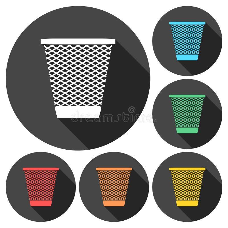 传染媒介回收站垃圾和垃圾象设置与长的阴影 库存例证