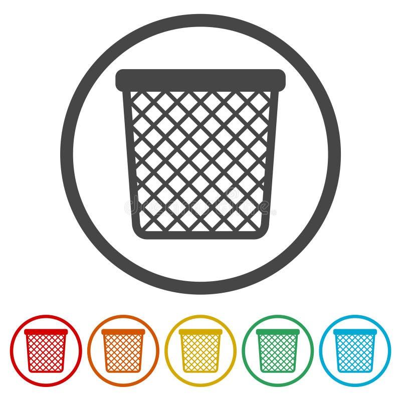 传染媒介回收站垃圾和垃圾象,包括的6种颜色 向量例证
