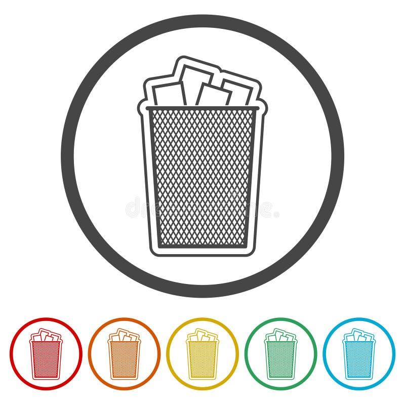 传染媒介回收站垃圾和垃圾象,包括的6种颜色 皇族释放例证