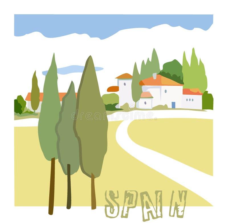 传染媒介图片土气西班牙房子和柏 图库摄影