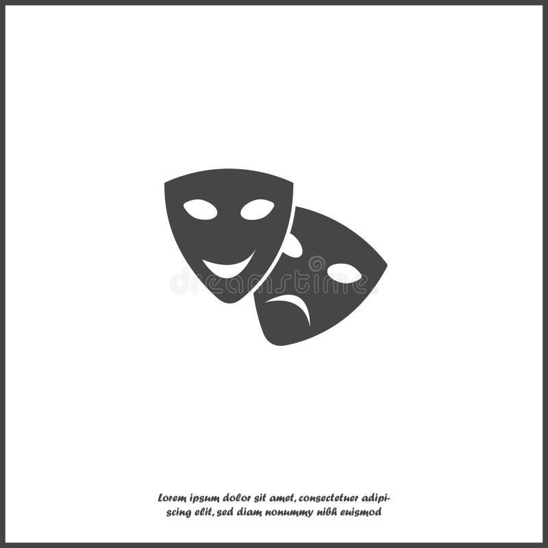 传染媒介图象戏剧性面罩 戏曲和喜剧,笑声和哭泣在白色被隔绝的背景 向量例证