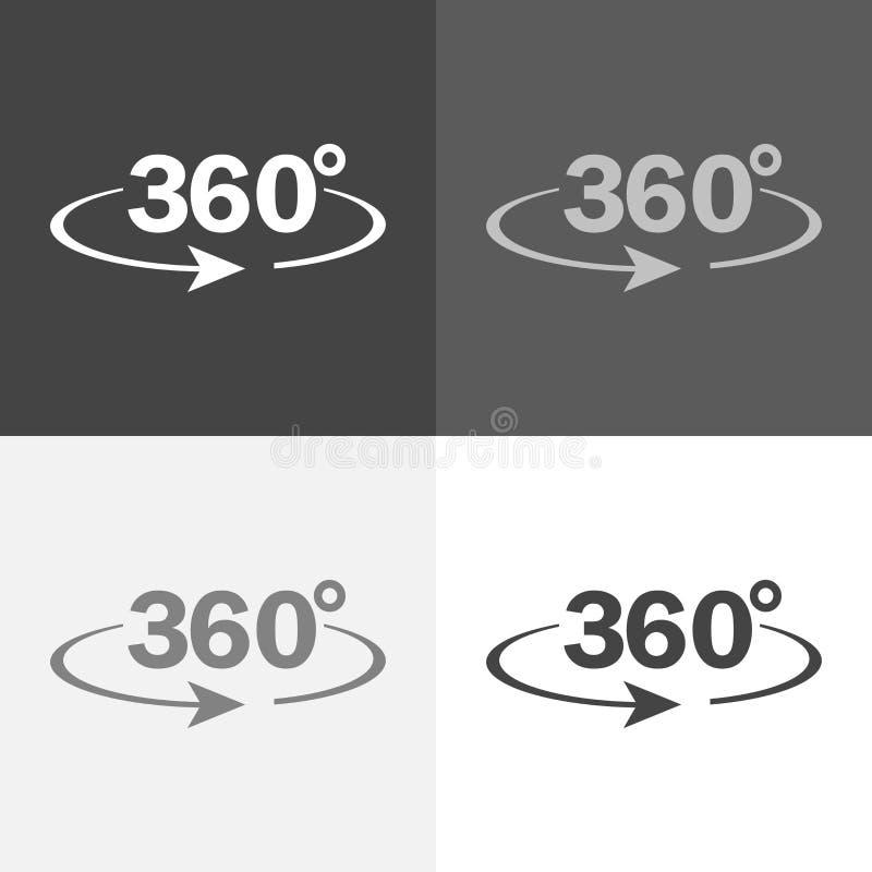 传染媒介图象轮标志360度 在白灰色bla的传染媒介象 向量例证