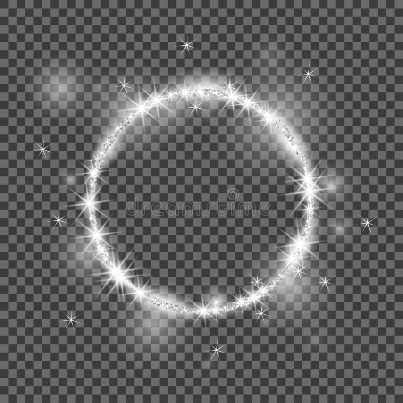 传染媒介圆的框架 2018年,白色闪烁的星团圈子 有益于圣诞节假日 光亮的圈子横幅 向量例证