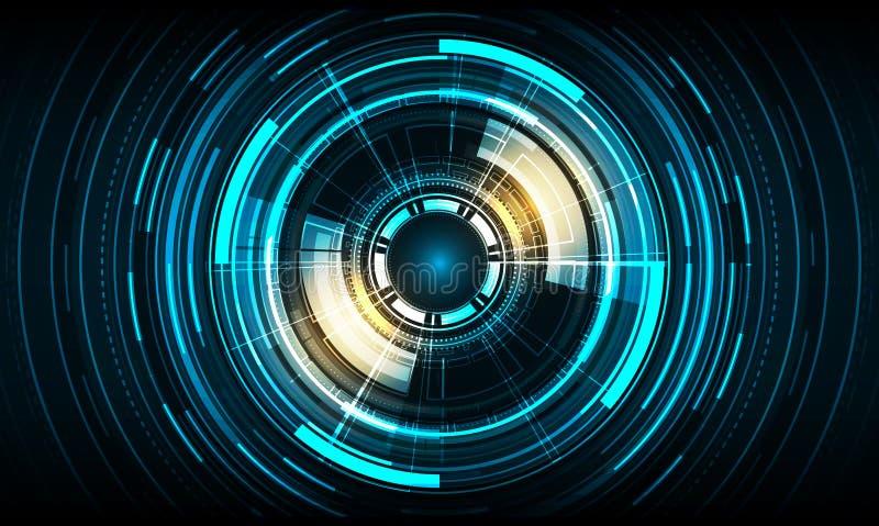 传染媒介圈子在蓝色颜色背景的技术设计 库存例证